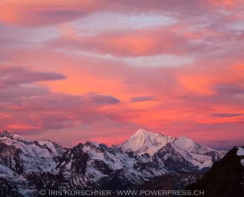 Blick von der Monte Leone Hütte zum Weisshorn, Simplongebiet, Wallis, Schweiz